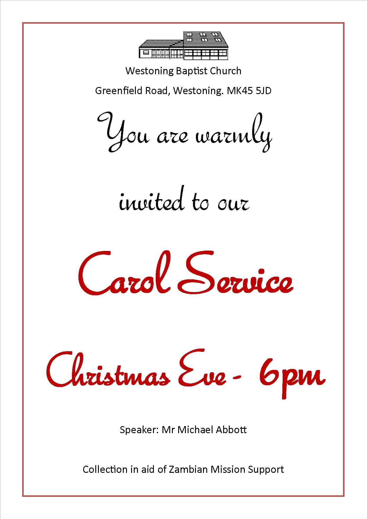 Carol Service 2014 notice