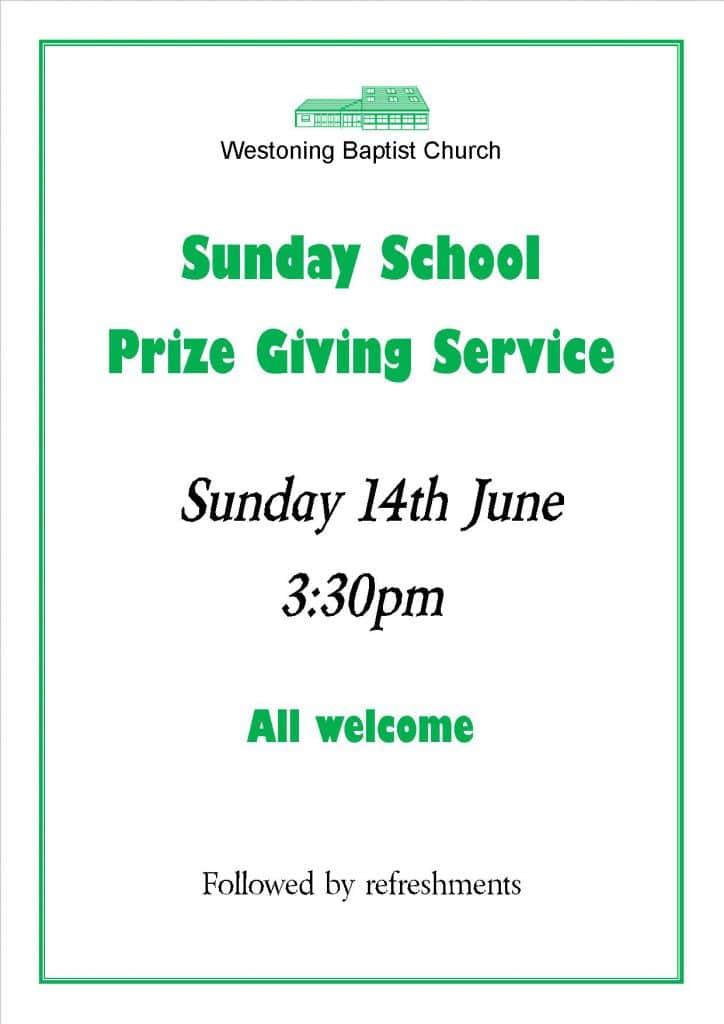 Sunday School Prizegiving Notice 2015