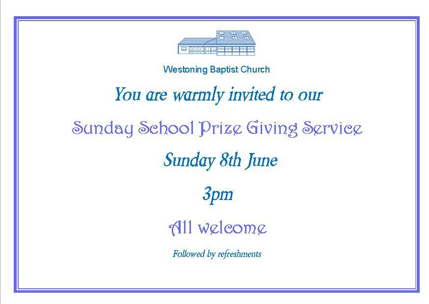 Sunday School anniversary invitation