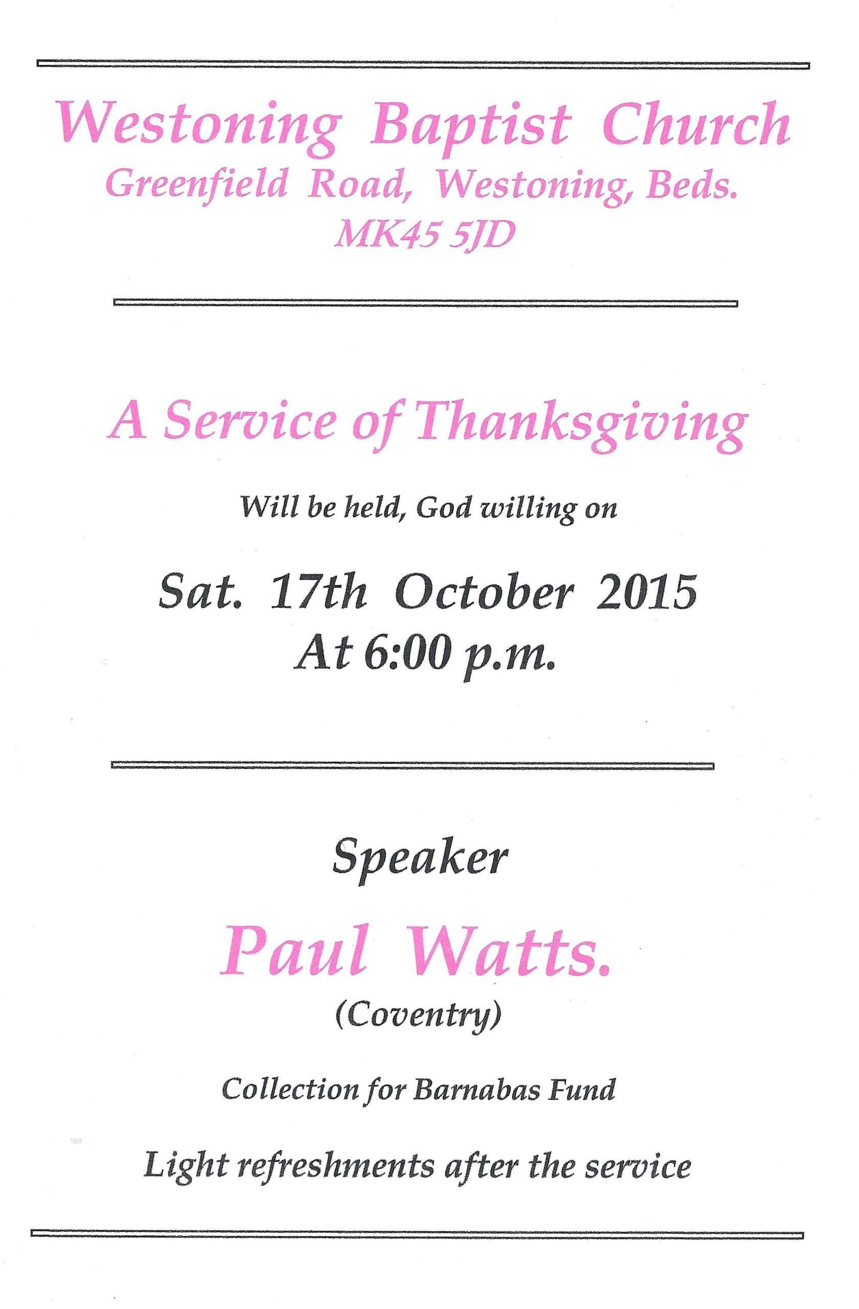 Thanksgiving service 2015